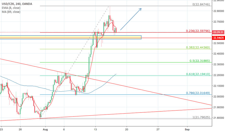 USDCZK: USDCZK pullback to previous resistance now support