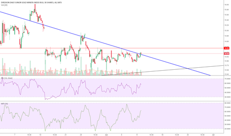 JNUG: JNUG broke out of the downtrend and tested the trendline