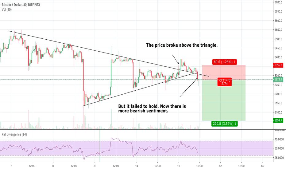 BTCUSD: Bitcoin Broke Down From a Triangle
