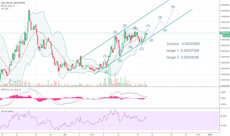 SALTBTC: MACD crossing 4h, 1st wave forming