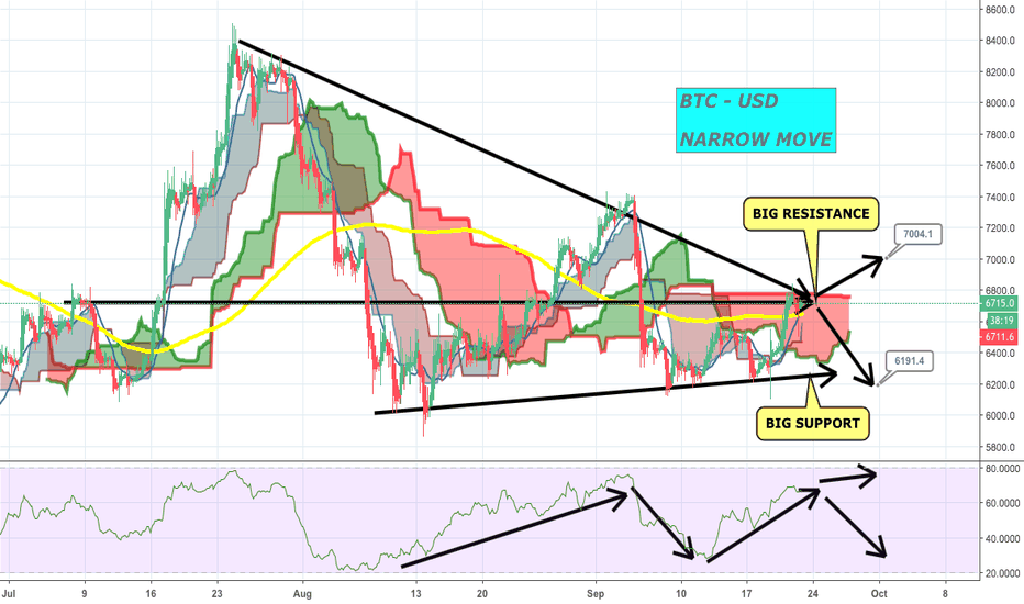 BTCUSD: #BITCOIN - BTC/USD - NARROW MOVE - ON BIG RESISTANCE