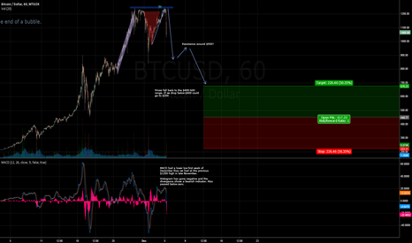 BTCUSD: Flag, Double Top and Bearish MACD? Correction Time?