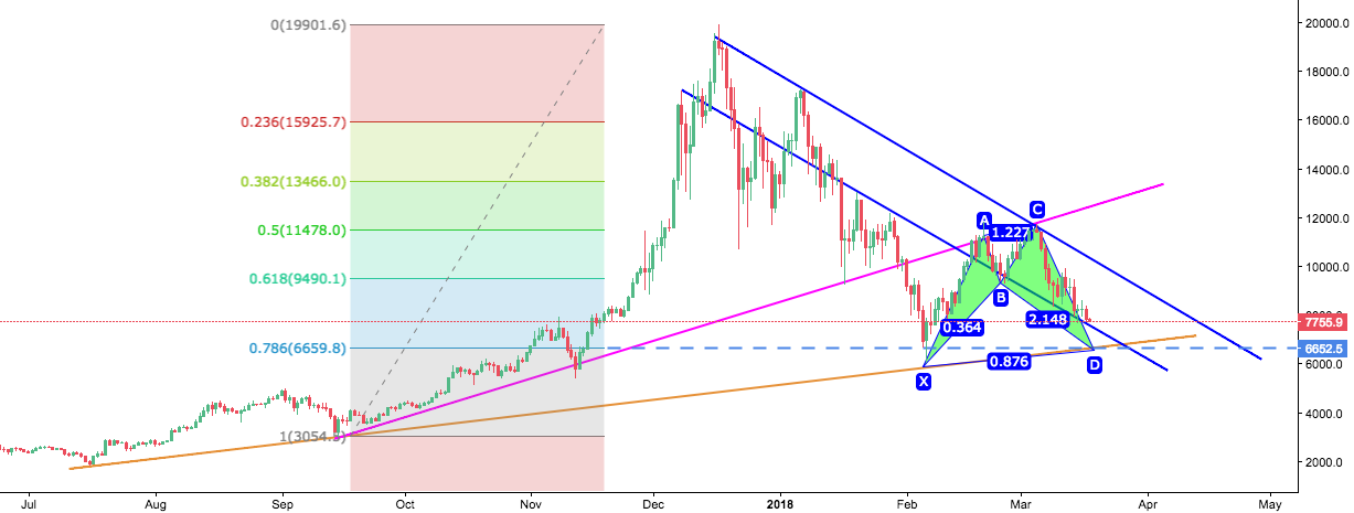 Correction till 6500$ and then resumption of the uptrend