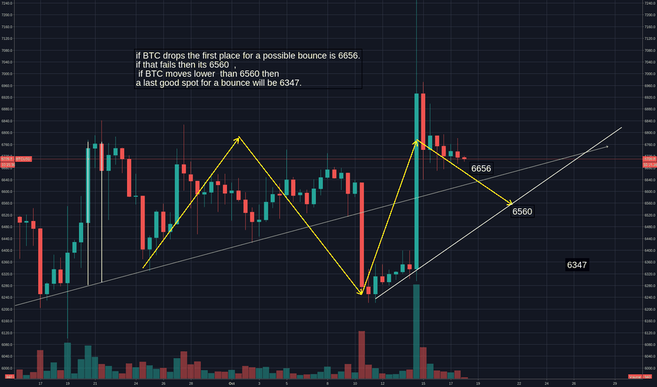 BTCUSD: if BTC drops the first place for a possible bounce is 6656.