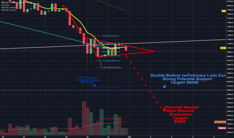 BTCUSD: Bear Pennant continuing to unfold as I expected; Double bottom?