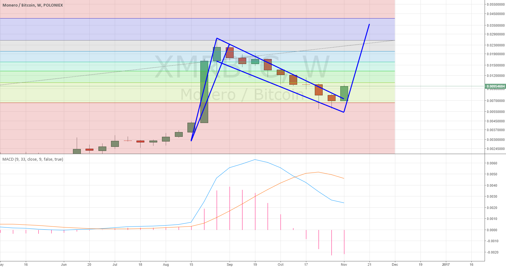 XMR possible weekly bull flag
