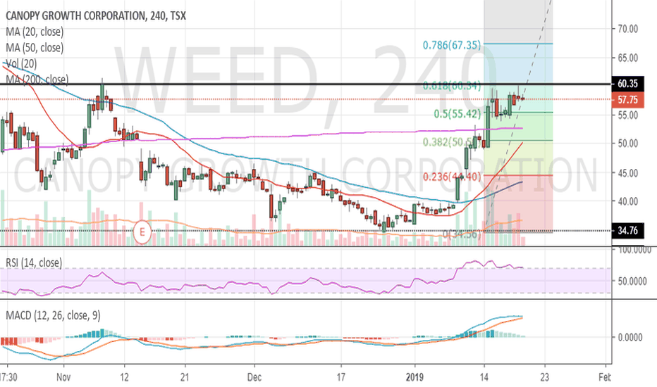 WEED: Weed - Hit .618 Fib level, pull back on 4 hour chart to $55
