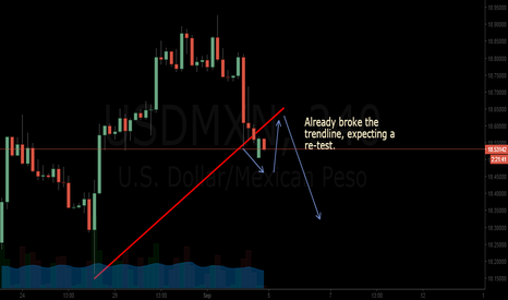 USDMXN: USDMXN broke uptrend, might possibly go down after a re-test.