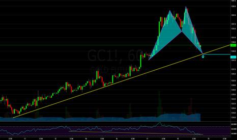 GC1!: Gold: Bullish Shark @ Trendline with Positive Divergence on 1H
