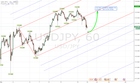 USDJPY: PITCHFORK - Forex USDJPY TF H1 Dec 14th , 2017