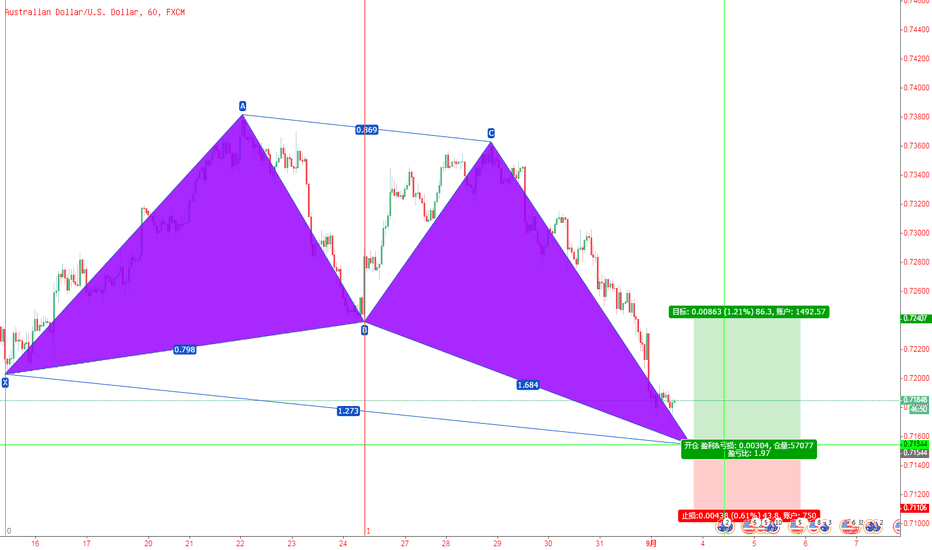 AUDUSD: 澳元/美元1小时图,上涨蝴蝶模式