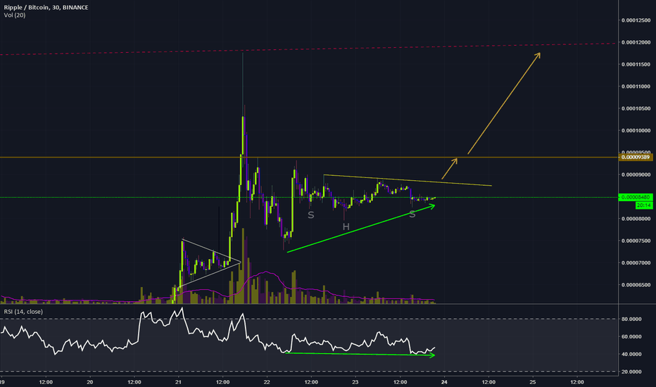 XRPBTC: XRP-BTC Inverted HS, and Possitive Divergence