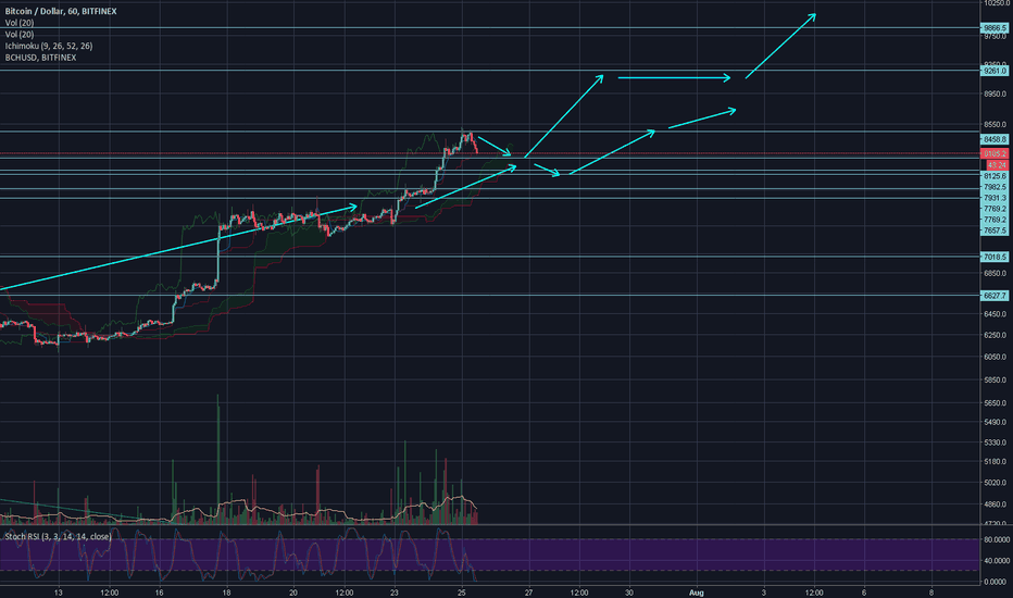 BTCUSD: Brief correction in strong move through 9800.
