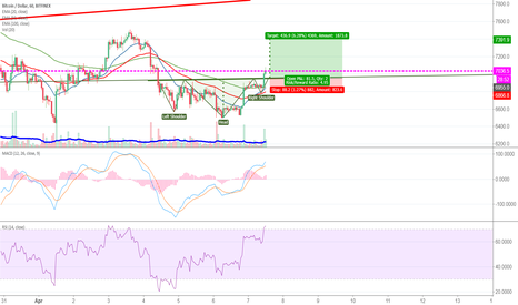 BTCUSD: BTC Inv. H&S pattern.  Traget 7.4K (unless whales say otherwise)