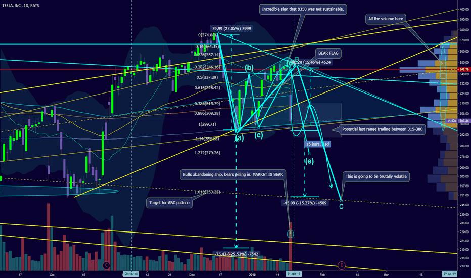 TSLA: Bear flag is surely forming = BEAR trend has begun