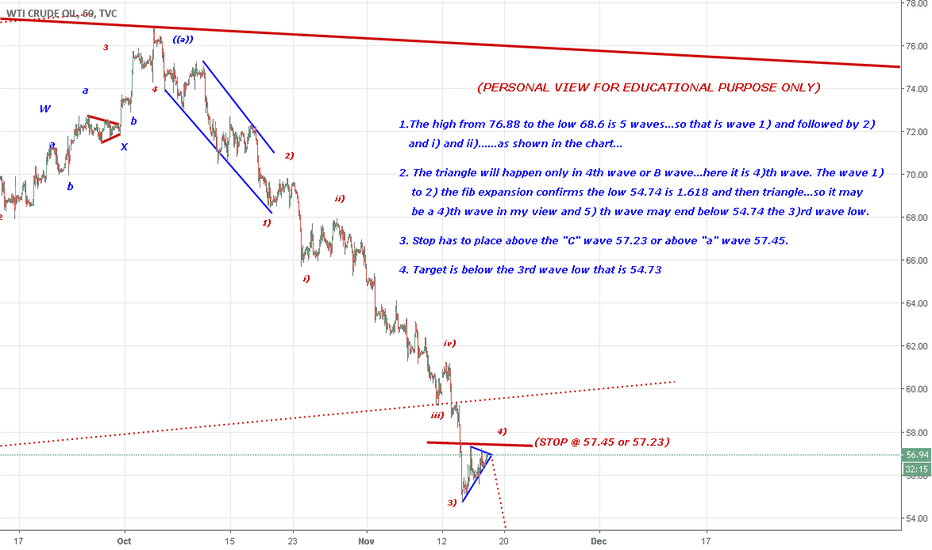 USOIL: May be a 4)th wave triangle and 5) wave target 54.73 below...