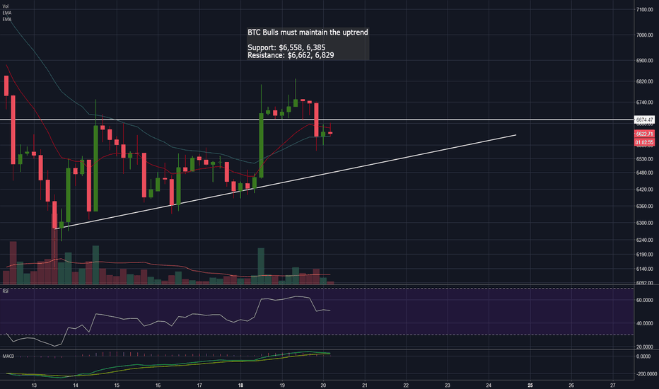 BTCUSD: BTC Bulls Must hold Uptrend Support