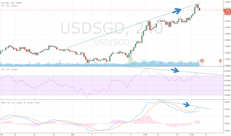 USDSGD: USD/SGD Negative divergence - time to go down ?