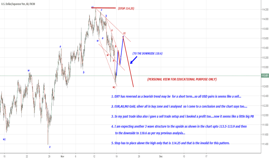 USDJPY: SHORT TERM BULLISH PULLBACK TO 113.5 IN 3 WAVE STRUCTURE