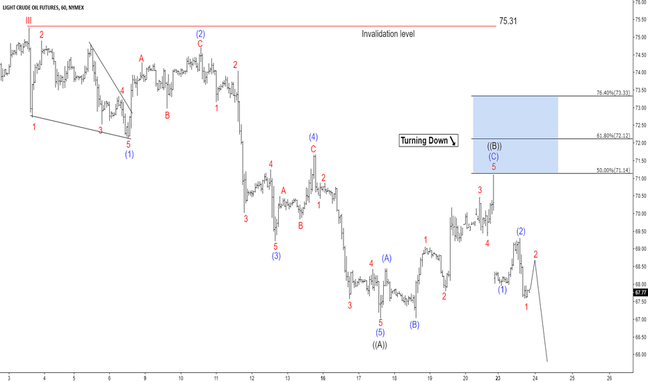 CL1!: OIL Elliott Wave Analysis: Larger Correction Taking Place