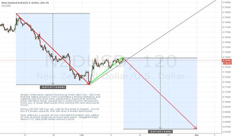 NZDUSD: Short NZDUSD Mid-Term, imminent breakout of continuation pattern