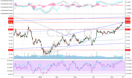 CSX: CSX  , basically an up ward moving stock , to practice charting