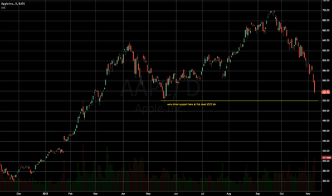 AAPL: Minor support at $530-$525