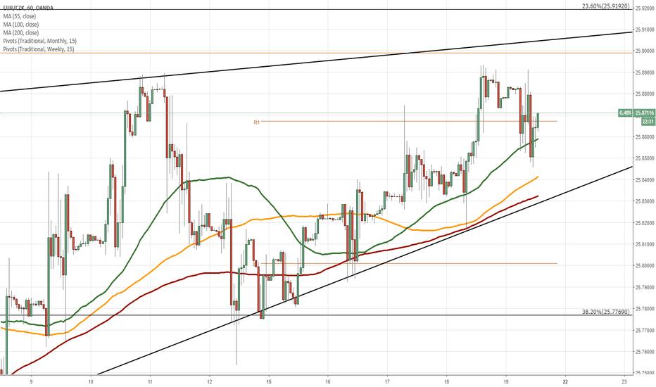 EURCZK: EUR/CZK 1H Chart: Rising wedge in sight