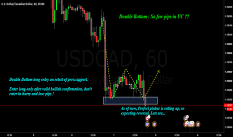 USDCAD: USDCAD : Double Bottom with pinbar