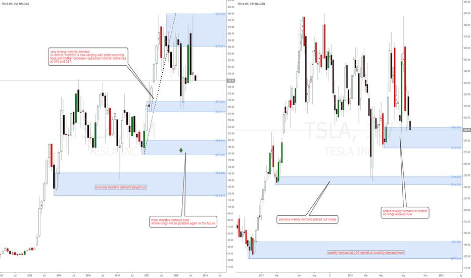TSLA: Tesla Inc long term longs at monthly demand level