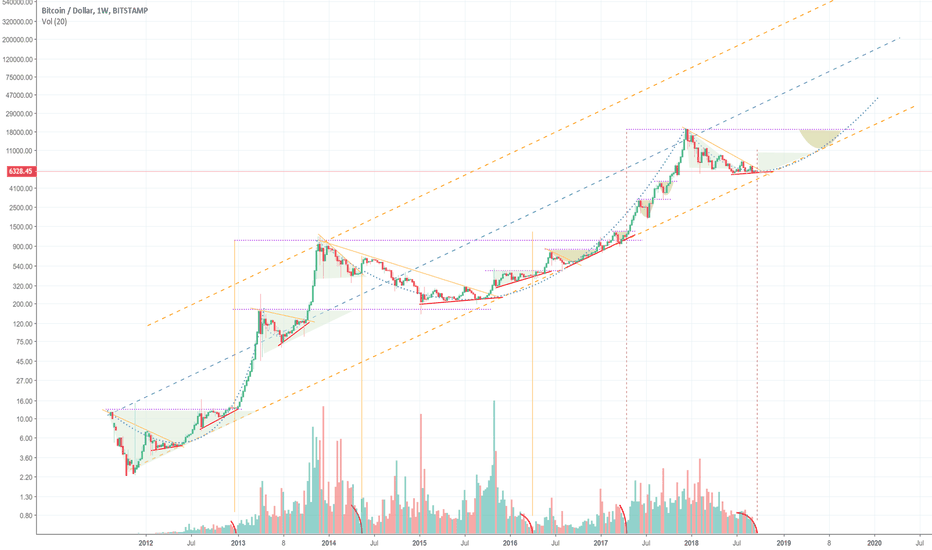 BTCUSD: BTCUSD bull trend since inception - plus volume dip curves