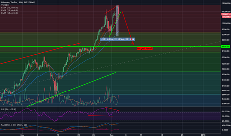BTCUSD: Bitcoin rising wedge - target level ~$8400