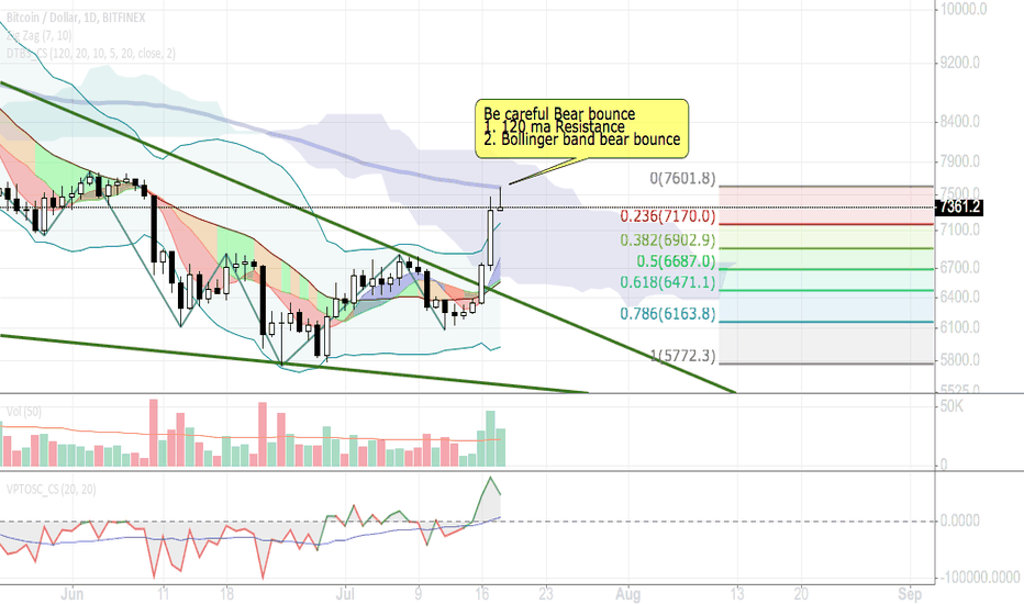 BTCUSD: Bitcoin / Be careful Bear bounce / Short term 7/2018