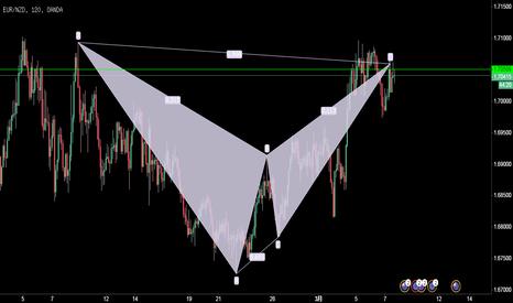 EURNZD: 欧元/纽元,2小时图,形成下降蝙蝠