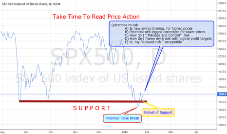 """SPX500: S&P """"TAKE TIME TO READ PRICE ACTION"""
