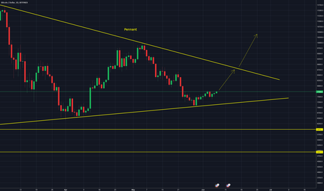 BTCUSD: BTCUSD - Preparing to go short from bearish pennant pattern