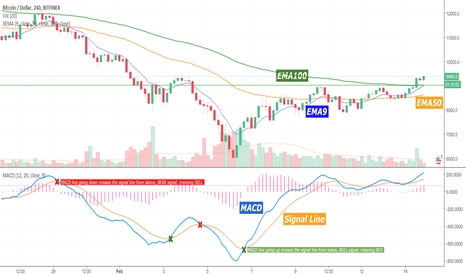BTCUSD: Trend analysis and momentum with EMA & MACD
