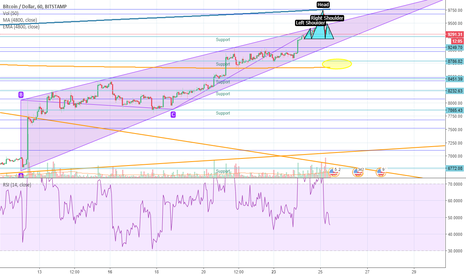 BTCUSD: Short Term Trading Idea - H&S falling to Support or 200 MA.