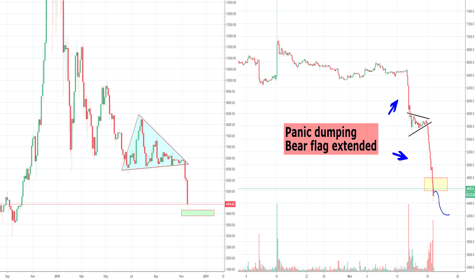 BTCUSD: Bitcoin Panic Selling has Started, Target Overreaching