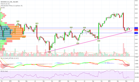 SKX: weekly bear flag on trend support