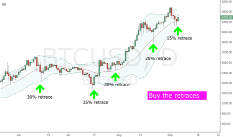 BTCUSD: Bitcoin strategy - long term - Buy the retraces
