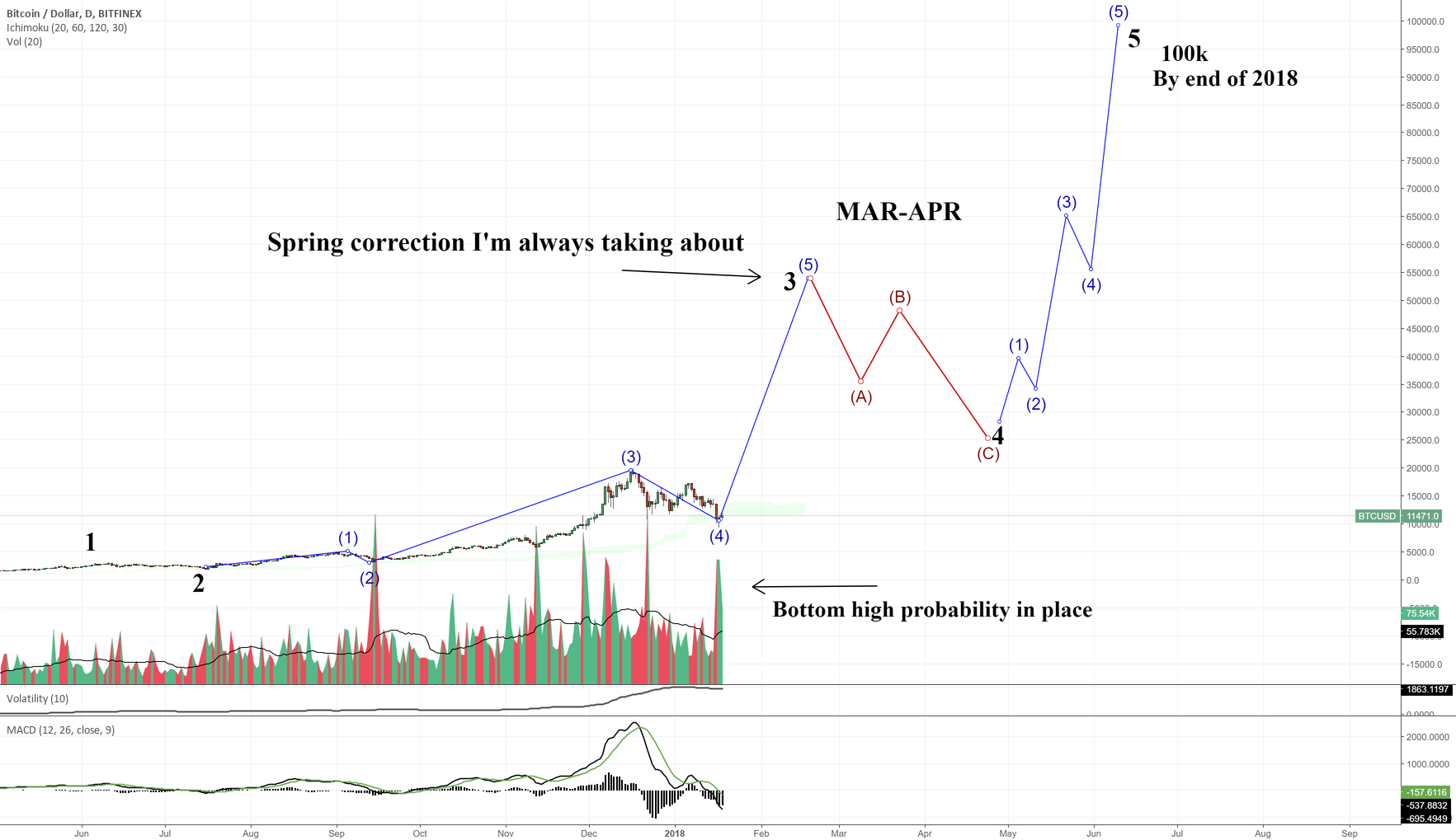 Full Wave Count on BITCOIN (AKA BTC 100k in 2018)