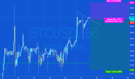 BTCUSD: BTCUSD 1H Chart - Bear Triangle Top