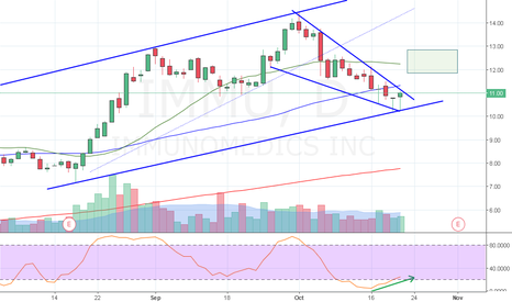 IMMU: Falling wedge breakout within a channel