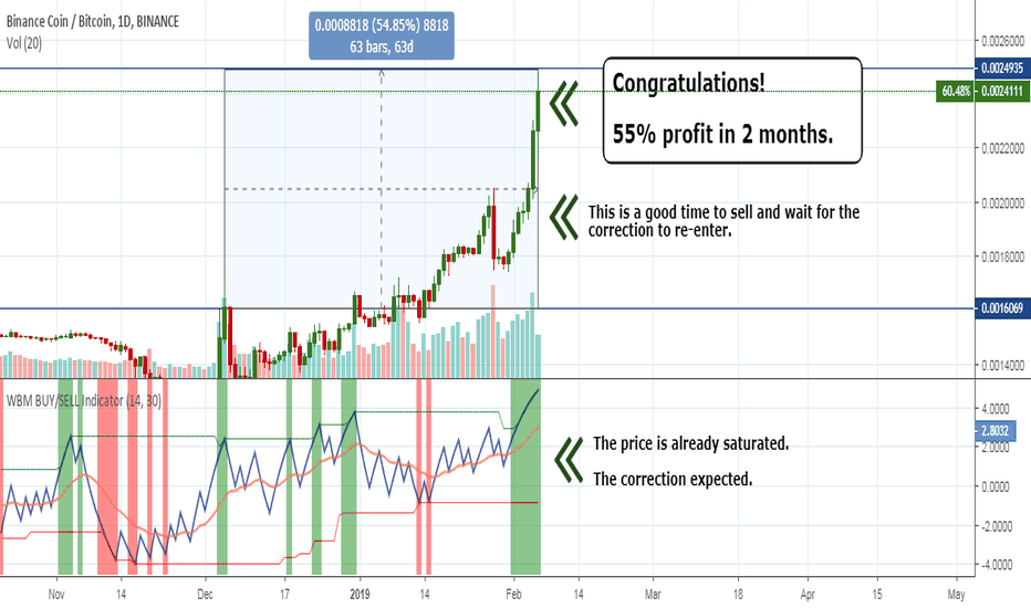BNBBTC: BinanceCoin–Congratulations! 55% profit in 2 months. Take profit