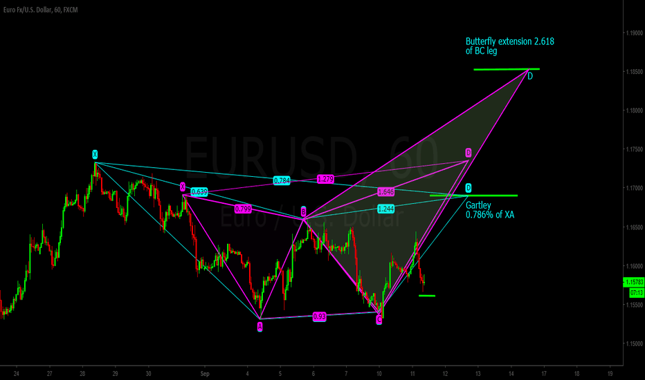 EURUSD: EURUSD potential Gartley and Butterfly
