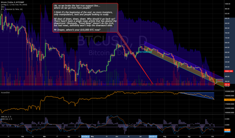 BTCUSD: No more support, where does it land. I don't care, personally.