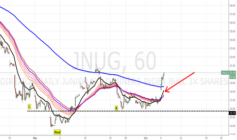 JNUG: IHS was spotted on lower time frames i.e. 45min chart