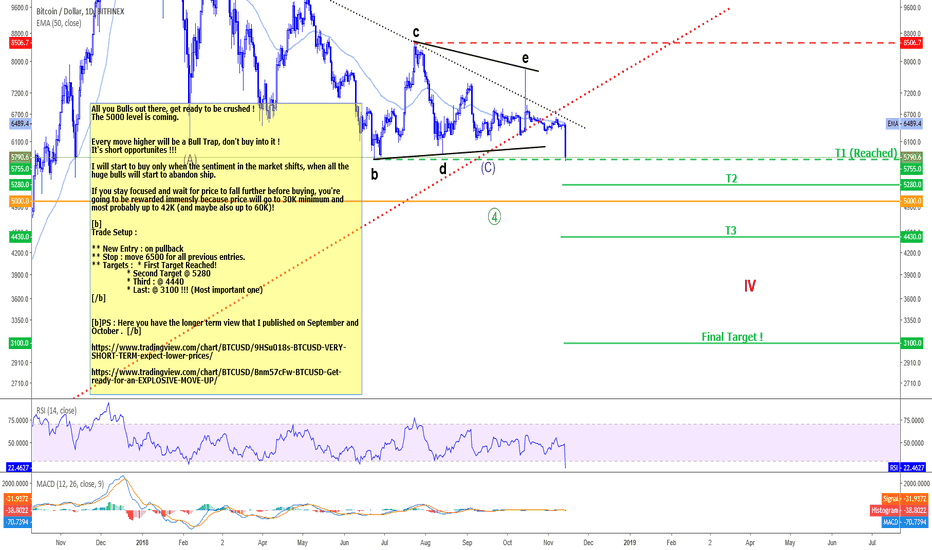 BTCUSD: BITCOIN - Price will fall further, crushing all hopes of Bulls !