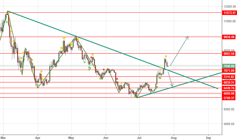 BTCUSD: BTCUSD long above 7671 Tp at the Red line on the Chart